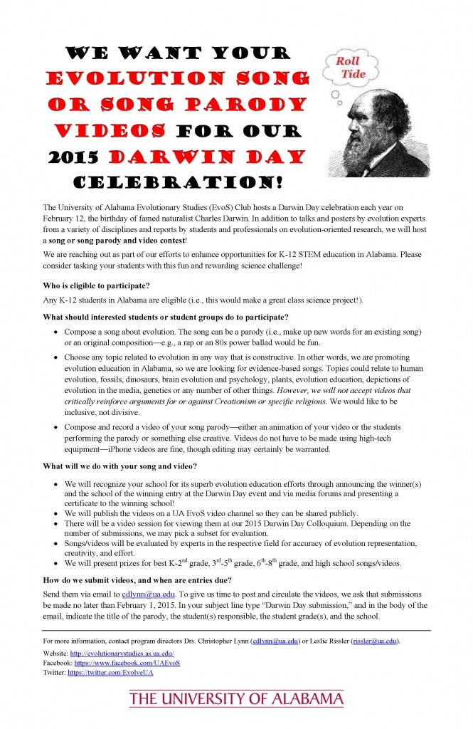 call for video proposal Darwin Day 2015